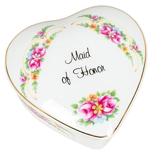 Mini Porcelain Box - Maid of Honor Floral Porcelain Mini Heart Shaped Keepsake Box
