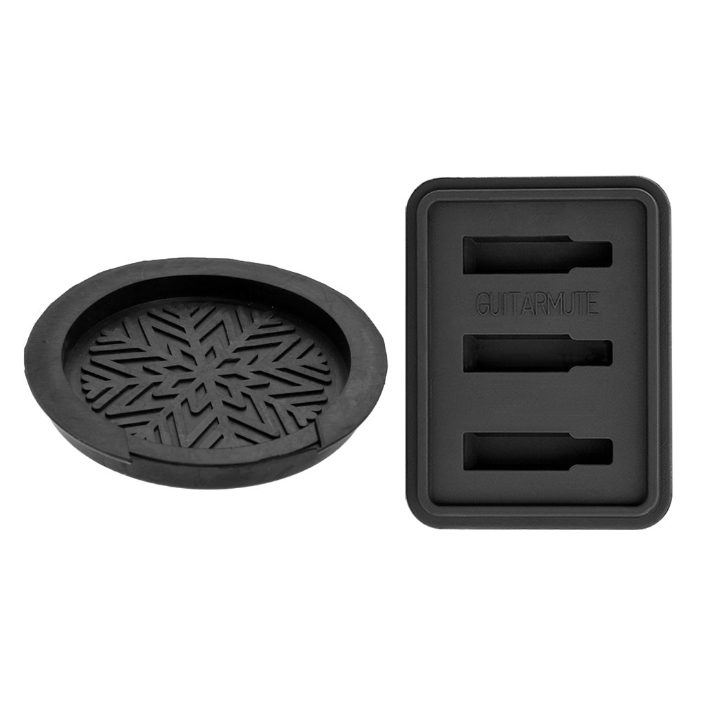 Homyl Durable Rubber Acoustic Guitar Mute Silencer Sound Hole Cover Sound Buffer Black