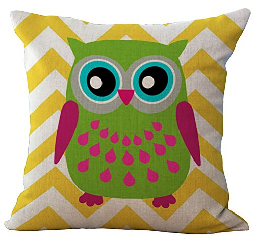 (RS-pthrAB Linen Blend Rural Style Owl Pattern Cushion Cover Cotton Pillowslip Square Decorative Throw Pillow Case 18 X 18'')