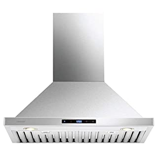 """CAVALIERE Wall Mounted 30"""" Inch Range Hood   Brushed Stainless Steel Finish   860 CFM   4 Speed Control Touch Panel   Baffle Filters"""