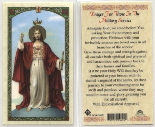 (Sacred Heart - Prayer for Those in Military Service Holy Card (HC9-350E) - Laminated)