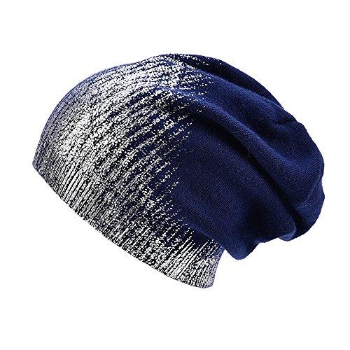 5824782843e67e ENJOYFUR Womens Knitted Slouchy Beanies Hat Winter Wool Warm Cap (Navy)