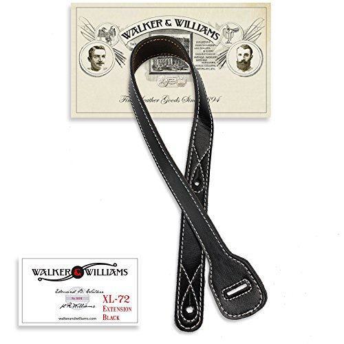 "Walker & Williams XL-72 Black Guitar Strap Extender Lengthens W&W Straps Up To 60"""