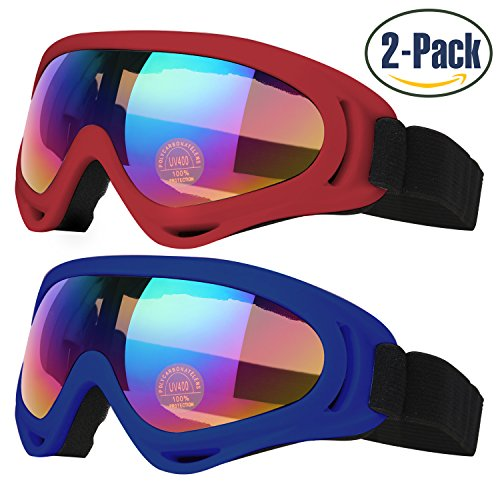 Ski Goggles, Pack of 2, Skate Glasses for Kids, Boys & Girls, Youth, Men & Women, with UV 400 Protection, Wind Resistance, Anti-Glare Lenses, made by COOLOO, Red / Dark - Made Of Glass Contact Lenses
