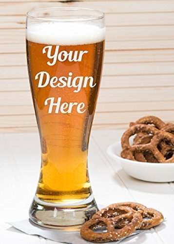 23 oz Custom and Personalized Glass Etched Pilsner Beer Glass - Tapered Pint Glass