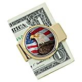 Coin Money Clip - JFK Half Dollar Colorized with American Bald Eagle | Brass Moneyclip Layered in Pure 24k Gold | Holds Currency, Credit Cards, Cash | Genuine U.S. Coin | Certificate of Authenticity