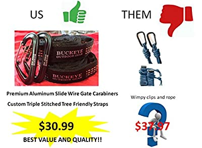 """Buckeye Outdoor Gear - PREMIUM Camping Hammock COMPLETE KIT with FREE Straps and Carabiners, High Strength Nylon 106"""" x 55"""" and a 550 pound capacity!"""