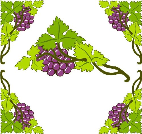 Grapes Window - 4 Corner Images - Grapes on a Vine with Leaves - Vinyl Stained Glass Film, Static Cling Window Decal