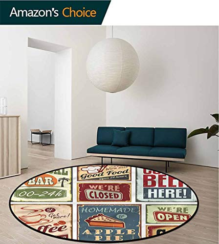 1950S Super Soft Circle Rugs for Girls,Vintage Bar Restaurant Signs Non-Slip Living Room Soft Floor Mat Diameter-31 ()