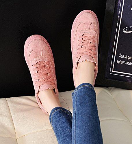 Showhow Dames Comfortabele Ronde Neus Veters Sneakners Roze