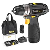 Cordless Drill, TECCPO 12V Drill Driver, 2pcs 2000mAh Li-Ion Batteries, 30Nm Max Torque, 1 Hrs Fast Charger, 2-Speed 20+1 Torque Setting, 29pcs Accessories and Wear-resistant Bag Included, TDCD01P