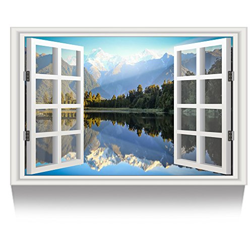 Kreative Arts - Canvas Print Wall Art Window Frame Style Landscape Picture Wall Decor Stretched Giclee Print Gallery Wrap Modern for Home Decor Ready to Hang (24''x36'', 7.Lake and Mountain Scenery) ()