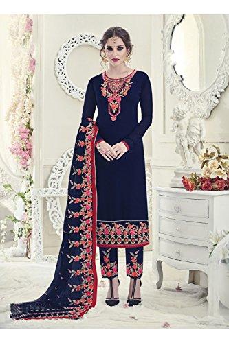 Da Facioun Femmes Indiennes Concepteur Partywear Ethnique Marine Traditionelles Bleu Salwar Kameez