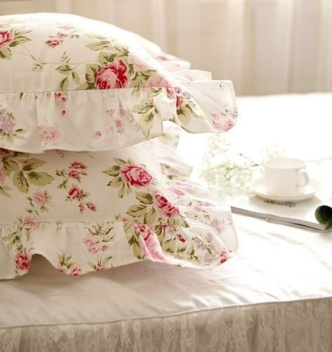 Pillow Rose Lace (One Piece Shabby Vintage Roses Garden Ruffles Cotton Matching Pillowcase 1312 (King 20