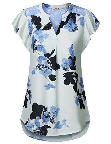 Business Casual Tops for Women,Ladies Chiffon Short Sleeve Blouses Elegant V Neck Summer Work Shirt and Blouse Light Blue,M by Youtalia Direct