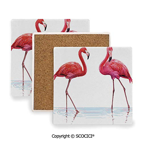 (Ceramic Coaster With Cork Mat on the back side, Tabletop Protection for Any Table Type, Square coaster,Animal,Two Hand Drawn Flamingos in Pink Colors on Seaside,3.9