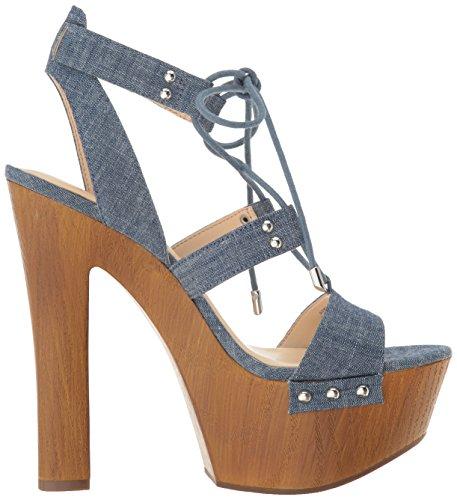 Jessica Simpson Frauen Doreena Offener Zeh Besonderer Anlass Leder Platform Sandalen Chambray Blue