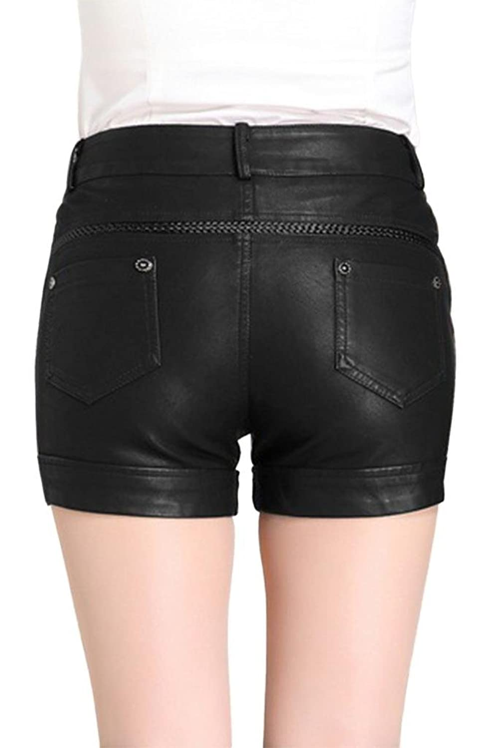 Lotus Instyle Faux Leather Shorts PVC Short Pants with Pockets-Black L:  Amazon.co.uk: Clothing