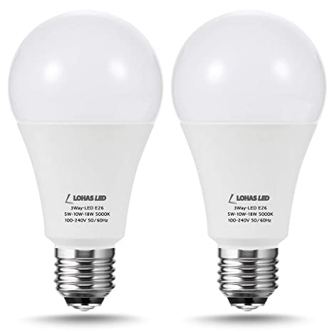 Frosted Light Bulbs >> Lohas 3 Way A21 Led Frosted Light Bulbs 2 Pack