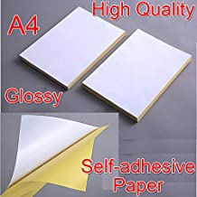 High Quality 21x29cm A4 White Glossy Self-adhesive Sticker Sticky Back Label Printing Paper Sheet Inkjet Laser Printer Graphic Labels Logistics Labels Address Labels (10pcs)