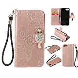 Amocase Wallet Case with Black 2 in 1 Stylus for iPhone 8,3D Bling Gems Owl Magnetic Mandala Embossing Premium Strap PU Leather Card Slot Magnetic Stand Flip Case for iPhone 7/iPhone 8 4.7 inch - Rose Gold