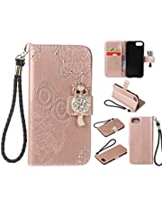 """Amocase Wallet Case with 2 in 1 Stylus for iPhone SE 2020 4.7"""",3D Bling Gems Owl Magnetic Mandala Embossing Premium Strap PU Leather Card Slot Stand Case for iPhone 7/iPhone 8 4.7 inch - Rose Gold"""