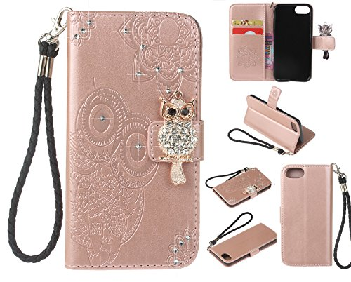 Cfrau Diamond Kickstand Case with Black Stylus for iPhone 7/8,Luxury Embossed Crystal 3D Owl Flower Bling Glitter Wallet PU Leather Shockproof Soft TPU Wrist String Case - Rose Gold