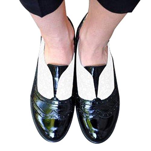 Juqilu Moda para Mujer Slip On Talla Talones Planos PU Botines de Cuero Vestido Diario Retro Zapatos Brogues Ladies Ocio Solos Zapatos: Amazon.es: Zapatos y ...