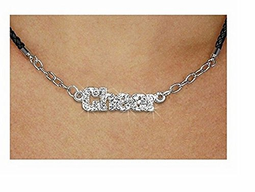 Pave Crystal ''Cheer'' Pendant & Black Braided Necklace by Lonestar Jewelry