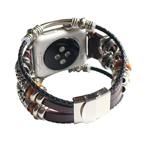 Price comparison product image Fashion Women Vintage Multilayer Bracelet Band Strap for Apple Watch 1/2/3 38mm (Coffee)