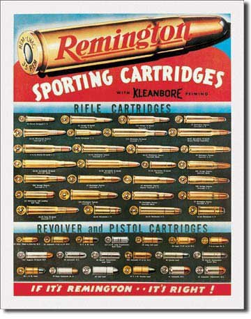 Remington Sporting Cartridges Rifle Revolver Pistol Bullet Guide Retro Vintage Tin Sign