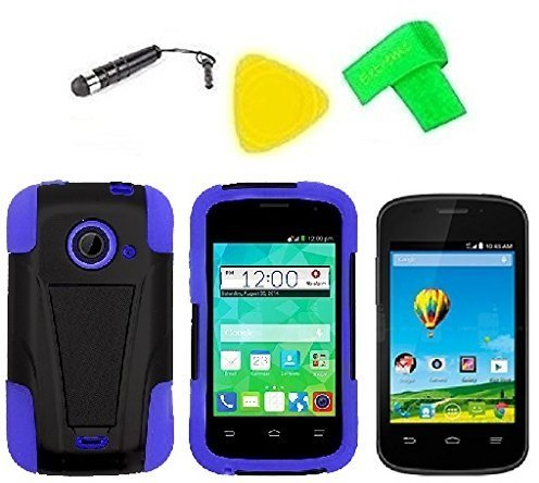 one Cover Case Cell Phone Accessory + Extreme Band + Stylus Pen + LCD Screen Protector + Yellow Pry Tool For ZTE Whirl 2 Z667G Z 667 G (T-Stand Black Blue) ()