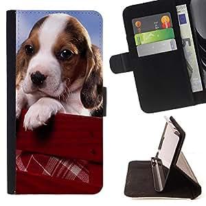 - Sad Puppy Dog Pet Animal Cute - Estilo PU billetera de cuero del soporte del tir???¡¯????n [solapa de cierre] Cubierta- For Samsung Galaxy Note 4 IV £¨ Devil Case £©