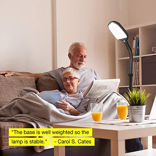Brightech Litespan LED Bright Reading Craft Lamp Modern Pole Light Adjustable Gooseneck Task Lighting Great in Bedrooms
