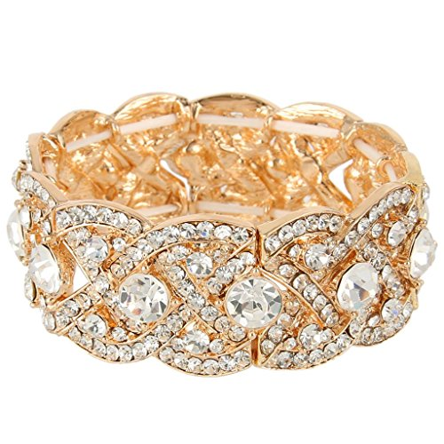 EVER FAITH Austrian Crystal Wedding Art Deco Elastic Stretch Bracelet Clear Gold-Tone