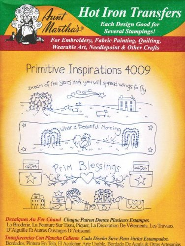 Primitive Inspirations Aunt Martha's Hot Iron Embroidery Transfer