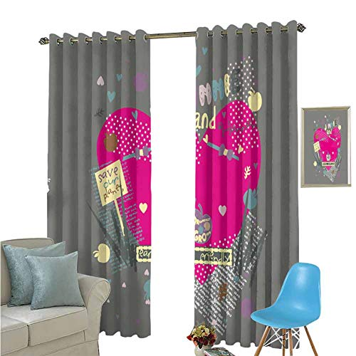 YSING Rod Pocket Curtains,Text Graphics Heart Shaped Letter,Noise Reducing Curtain,W72 x L72 Inch (Barclay Finishing Rods)