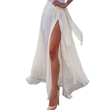 OHQ Foulard Blanc Femmes Slim Jupe Fendue Robe Maxi Mousseline De Soie Boho  Taille Haute Plage 3728935218f