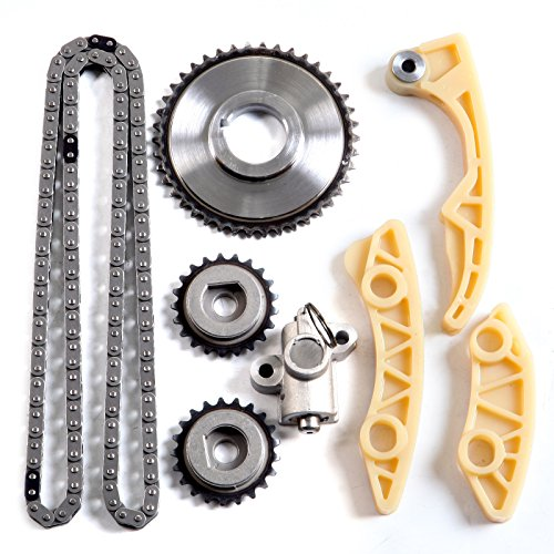 SCITOO 94202S Timing Chain Kit Tensioner Guide Rail Cam Sprocket Crank Sprocket Oil Pump Chain fits for Chevrolet Oldsmobile Saturn 2.0L 2.2L 2.4L Vin F