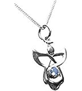 Sterling Silver Celtic Guardian Angel Birthstone Necklace - July - Branded Gift Box