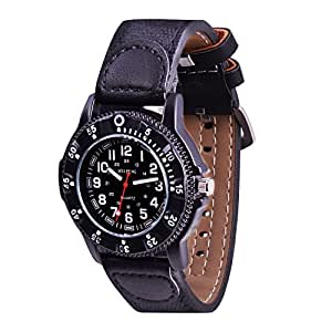 Wolfteeth Teenager Boy's Sport Watch Unique Big Face Analog Watch Military Army Watch Casual Fashion Design Water Resistant PU Strap Black 306303