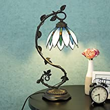 """Cloud Mountain Tiffany Style Arched Table Lamp Light Blue Floral Leaf Lotus Shape Stained Glass Desk Lamp Home Decor Lighting with 7"""" Lampshade"""