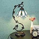 Cloud Mountain Tiffany Style Arched Table Lamp Light Blue Floral Leaf Lotus Shape Stained Glass Desk Lamp Home Decor Lighting with 7