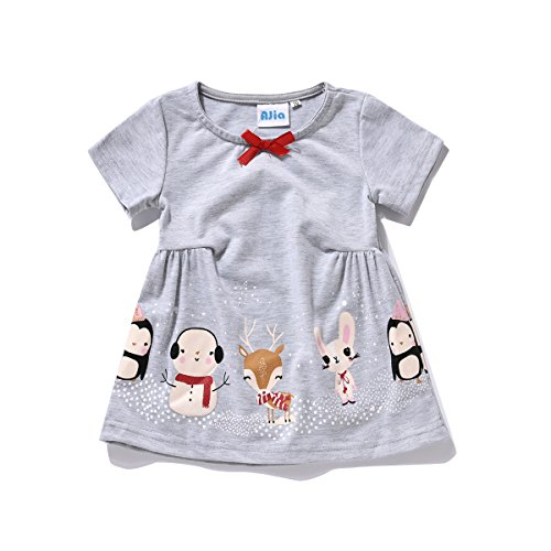 [Cute Baby Girls Short Sleeve Dress/T-shirt with Small Animal Prints (80 (12M))] (Baby Animal Dresses)