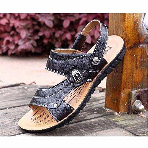Männer Sandalen Männer Echtleder Das neue Strand Schuh Jugend Sommer Trend Schüler Sandalen Freizeit Schuh ,schwarz,US=10,UK=9.5,EU=44,CN=46