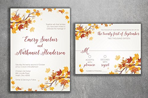 Invitation Wedding Leaves Fall (Autumn Wedding Invitation Set, Fall Wedding Invitation, September Wedding Invitations, Leaves, October, Maroon and Orange Wedding Invitation)