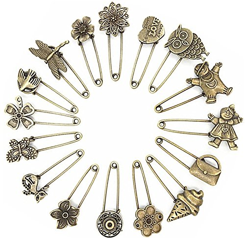 (Ancefine 16 Pcs Antique Bronze Hijab Pins/Safety Pins/Brooch)