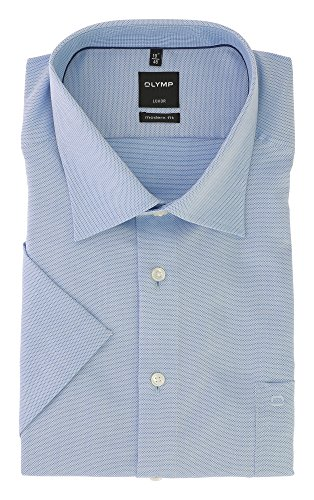 OLYMP Luxor Serie Modern Fit Herren Hemd Elegant & Sportlich Blau Kent Kragen Knitter- und Bügelfrei Gr.47