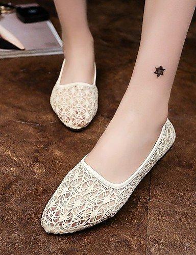 White Beige Donna Nero Piatto Casual Scarpe Bianco ShangYi Formale Tessuto Pizzo Ballerina Ballerine PqzU5w