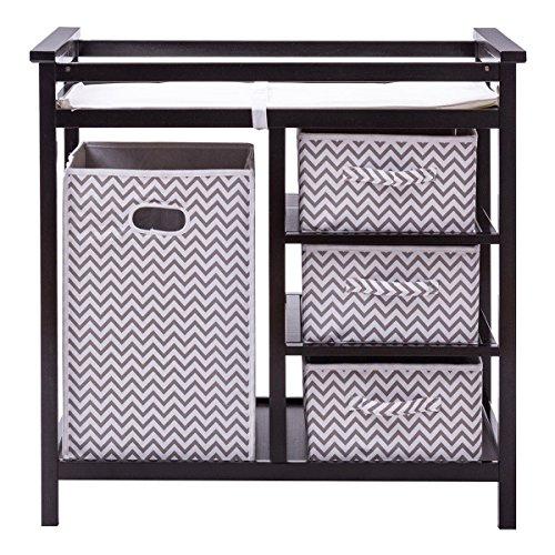 Black Infant Baby Changing Table w/3 Basket Hamper Diaper Storage Nursery by onestops8